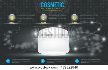 Cosmetic ads template blank cosmetic mockup with sparkling effect. Product information and translucent liquid ball. Vector 3D illustration