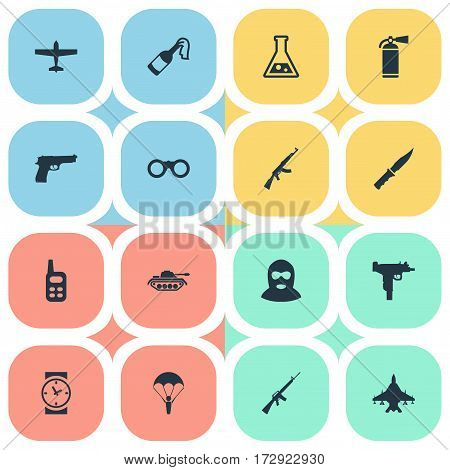 Set Of 16 Simple Terror Icons. Can Be Found Such Elements As Cold Weapon, Rifle Gun, Chemistry And Other.