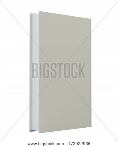 Blank book cover mockcup template standing. 3d rendering isolated on white background