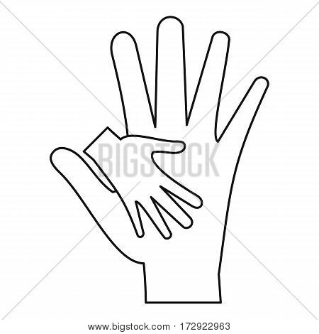 Mother holding baby hand icon. Outline illustration of mother holding baby hand vector icon for web