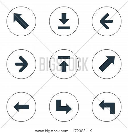 Set Of 9 Simple Arrows Icons. Can Be Found Such Elements As Pointer, Left Direction, Indicator And Other.