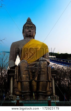 Outdoor view buddha statue place of worship