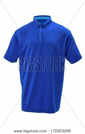 Blue golf tee shirt with light blue collar for man on white background