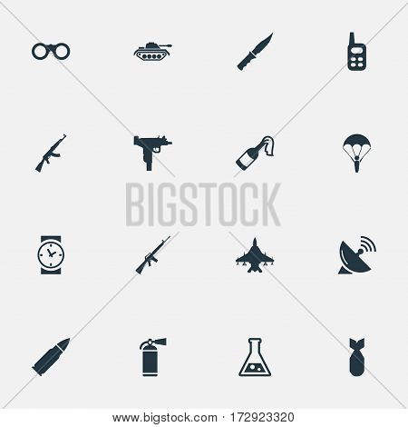 Set Of 16 Simple War Icons. Can Be Found Such Elements As Molotov, Signal Receiver, Chemistry And Other.