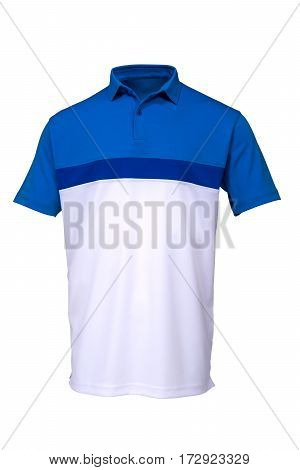 Blue and white golf tee shirt for man on white background