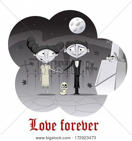 Cute couple of zombie in the background of graveyard and full moon. Happy valentine day concept illustration. Easy to edit. Layered