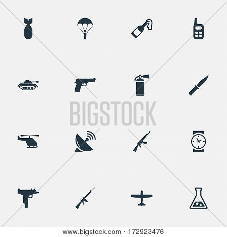 Set Of 16 Simple Terror Icons. Can Be Found Such Elements As Chemistry, Air Bomber, Helicopter And Other.