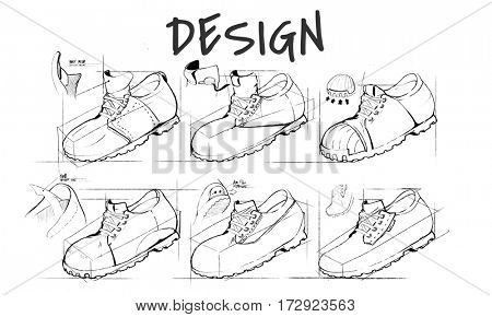 Shoe production procedure sketch drawing