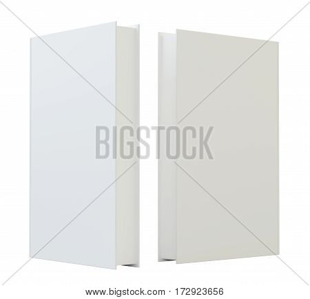 Blank mockcup book cover template standing. 3d rendering isolated on white background