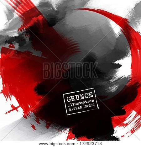 Red and black abstract background with ink splats. Japanese style composition. Aggressive futuristic dynamic background for wallpaper interior flyer cover poster banner booklet.