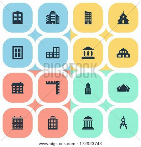 Set Of 16 Simple Structure Icons. Can Be Found Such Elements As Popish, Construction, Glazing And Other.
