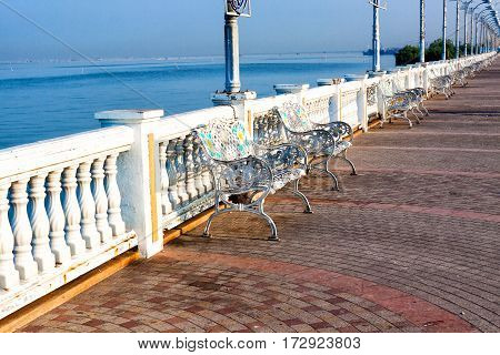 white metal chair outdoor decorate sea side