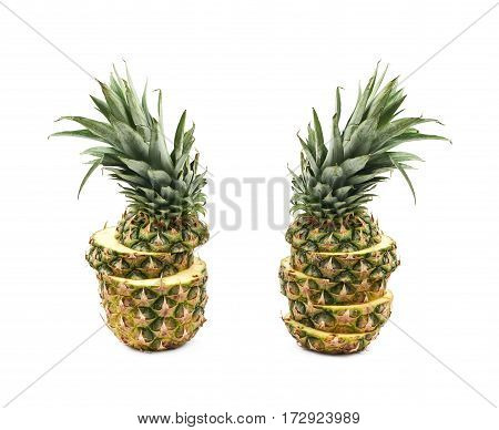 Sliced pineapple fruit isolated over the white background, set of two different foreshortenings