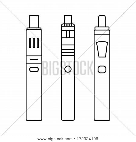 Set, collection of outlined electronic cigarette, vaporizer, device for smoking isolated on white background.