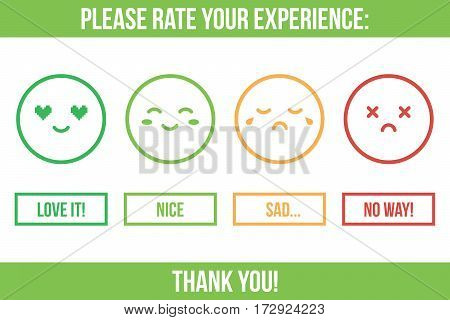 Customer service rating. Rate your experience buttons with different emotion faces.