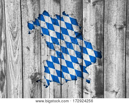Map And Flag Of Bavaria On Weathered Wood