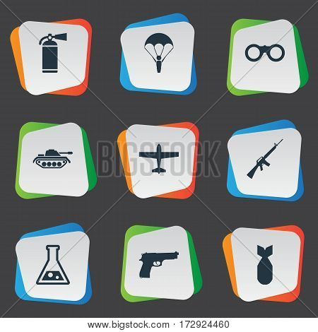 Set Of 9 Simple Battle Icons. Can Be Found Such Elements As Extinguisher, Rifle Gun, Field Glasses And Other.