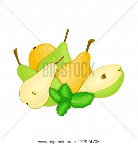 Vector composition of a few pears and mint leaves. Yellow pear fruits appetizing looking. Group of tasty ripe pear with pepper mint leaf packaging design of juice, breakfast, healthy vegan food