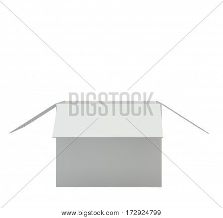 Open the white box on a white background. 3d rendering