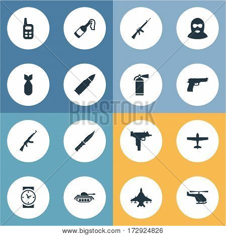 Set Of 16 Simple Terror Icons. Can Be Found Such Elements As Walkies, Extinguisher, Ammunition And Other.