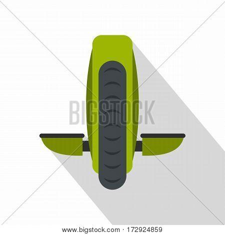 Green monowheel balance vehicle icon. Flat illustration of green monowheel balance vehicle vector icon for web isolated on white background