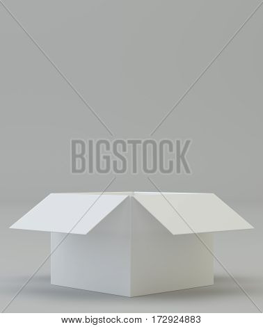 Opened cardboard box on gray background. 3d rendering