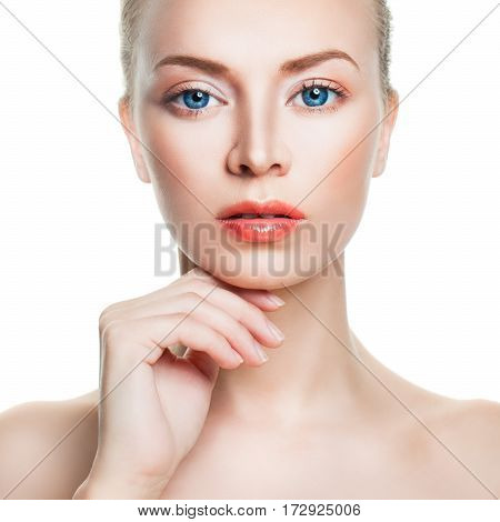 Natural Beauty and Skincare Concept. Spa Face. Healthy Woman with Clear Skin