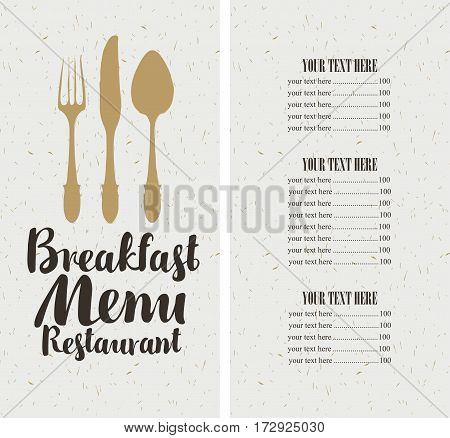 vector restaurant and cafe breakfast menu template with cutlery and price