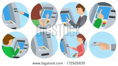 People men and women using ATM machine. Vector illustration icons isolated white background.