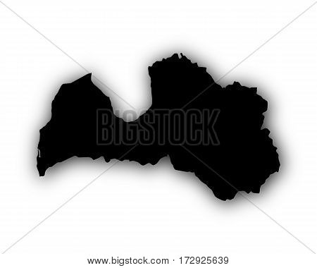 Map Of Latvia With Shadow