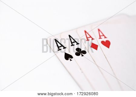 playing cards. four aces on a white background. copyspace, luck abstract with place for you text