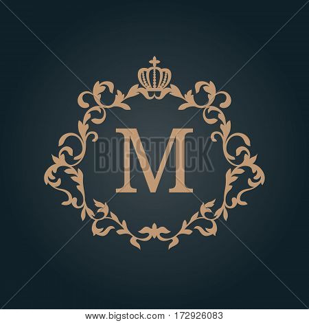 Elegant floral monogram design template for one or two letters . Wedding monogram. Calligraphic elegant ornament. Monogram template for laser cuting or die cutting