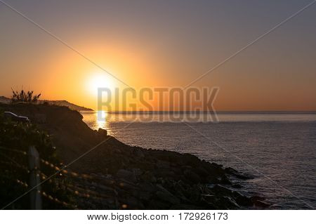 View of the sunrise on the sea in Sanremo, Italy