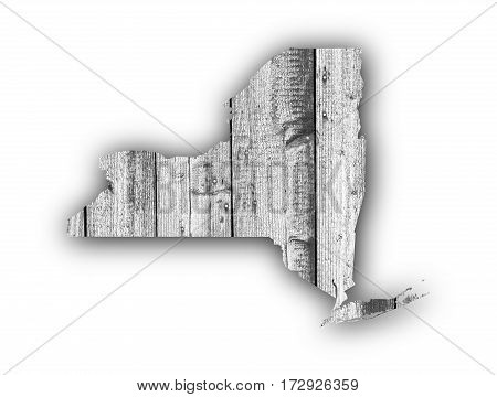 Map Of New York On Weathered Wood