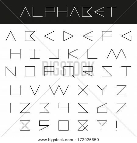 Minimal alphabet vector font. Type letters, numbers and punctuation marks on black and white background