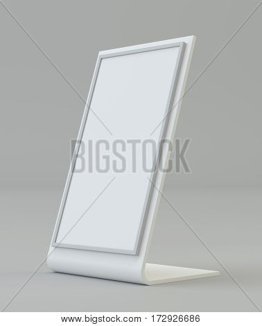 Blank holder. Clear brochure holding. Empty paper template. 3d rendering