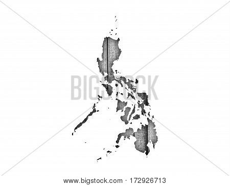 Map Of The Philippines On Weathered Wood
