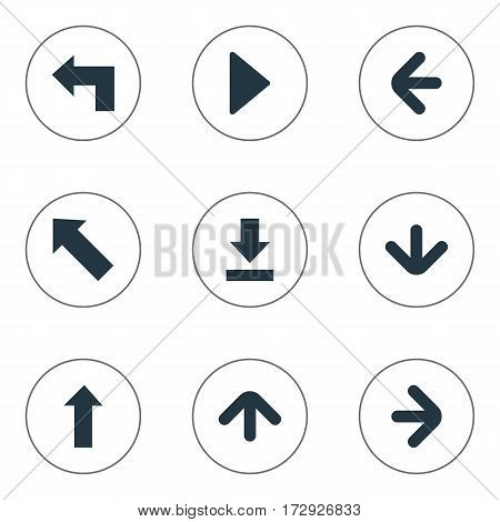 Set Of 9 Simple Indicator Icons. Can Be Found Such Elements As Pointer, Upward Direction, Pointer And Other.