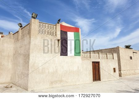 Traditional arabian style buildings at the Heritage Village in Dubai United Arab Emirates Middle East