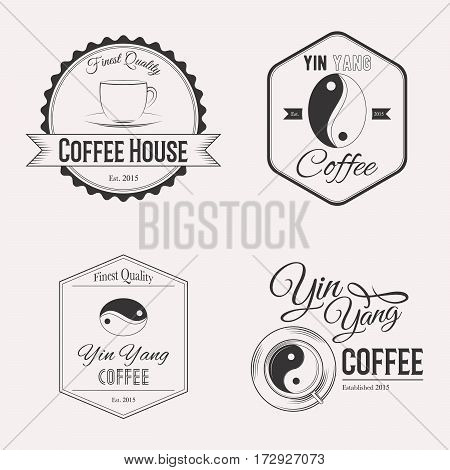 Coffee logo set yin yang isolated on white background