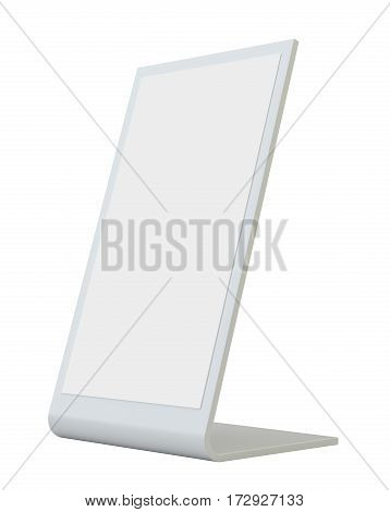 Plastic holder. Clear brochure holding. Empty paper template. 3d rendering isolated on white background