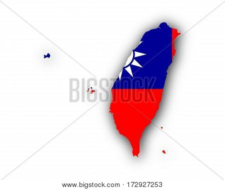 Map And Flag Of Taiwan