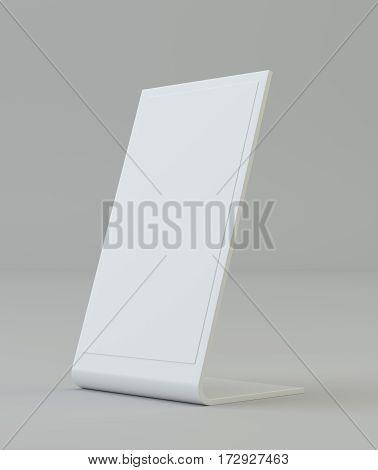 Blank flyer mockup plastic holder Clear brochure holding. Empty paper template. 3d rendering