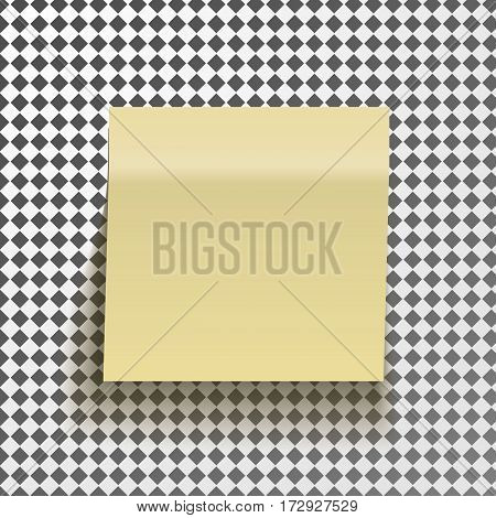 Yellow sticky note isolated on transparent background. Template for your projects. Vector illustration.