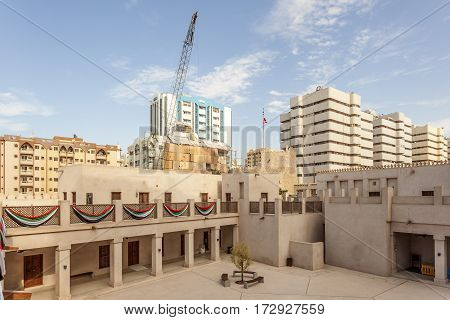 Inner courtyard of an old building in the city of Sharjah United Arab Emirates Middle East