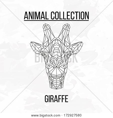 Owl head geometric lines silhouette isolated on white background vintage design element