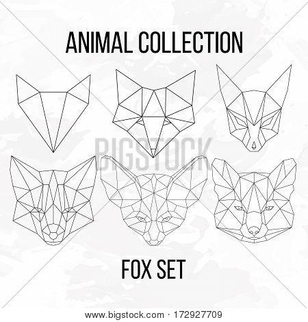Set of geometric fox head isolated on white background vintage vector design element illustration
