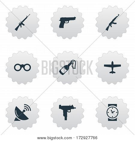 Set Of 9 Simple Battle Icons. Can Be Found Such Elements As Signal Receiver, Pistol, Rifle Gun And Other.
