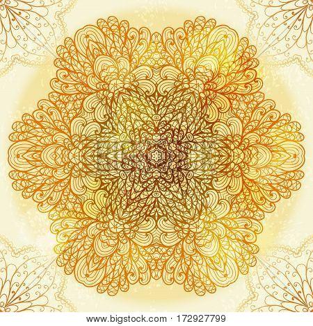 Hand drawn ethnic circular beige floral mehandi ornament