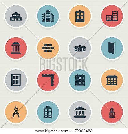 Set Of 16 Simple Structure Icons. Can Be Found Such Elements As Gate, Residence, Glazing And Other.